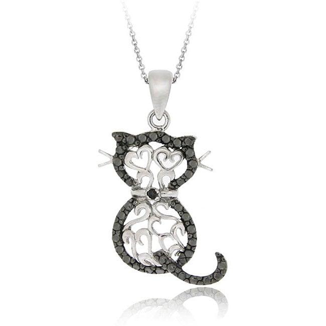DB Designs Sterling Silver Black Diamond Accent Filigree Cat Necklace