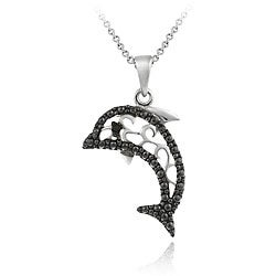 DB Designs Sterling Silver Black Diamond Accent Filigree Dolphin Necklace