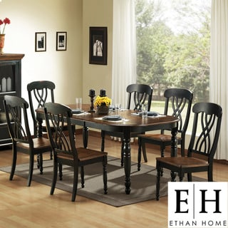 ETHAN HOME Mackenzie 7-piece Country Black Dining Set