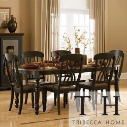 TRIBECCA HOME Mackenzie 7-piece Country Black Dining Set