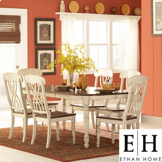 ETHAN HOME Mackenzie 7-piece Country Antique White Dining Set