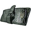 Amerileather Ace Python Silver Foil Clutch