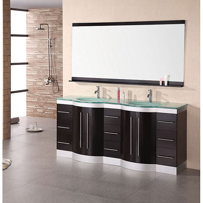 Design Element Supreme Modern Double Sink Bathroom Vanity 12247490