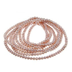 DaVonna Pink FW Pearl 100-inch Endless Necklace (6-6.5 mm)