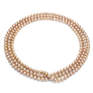 DaVonna Endless Pretty Pink Freshwater Pearl 64-inch Necklace (8-9 mm)