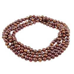 DaVonna Chocolate FW Pearl 64-inch Endless Necklace (8-9 mm)