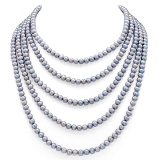 DaVonna Black FW Pearl 100-inch Endless Necklace (5-6 mm)
