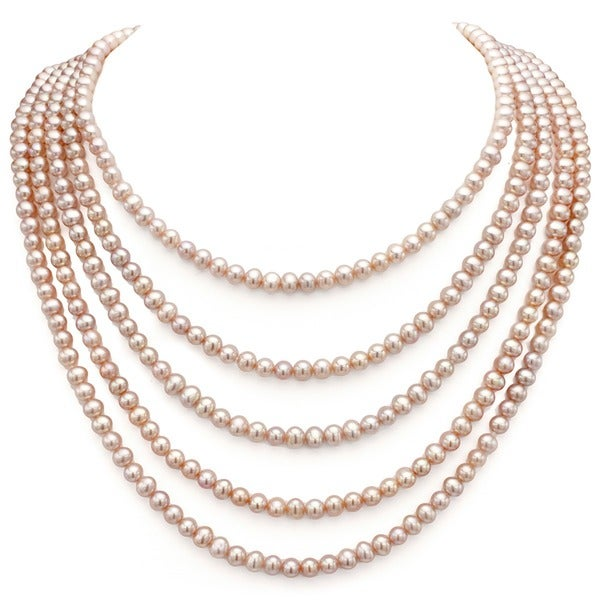 DaVonna Pink FW Pearl 100-inch Endless Necklace (5-6 mm)