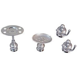 Moen Platinum/ Chrome 4-piece Bath Accessory Set