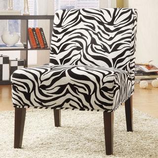 TRIBECCA HOME Decorative Zebra Print Armless Lounge Chair