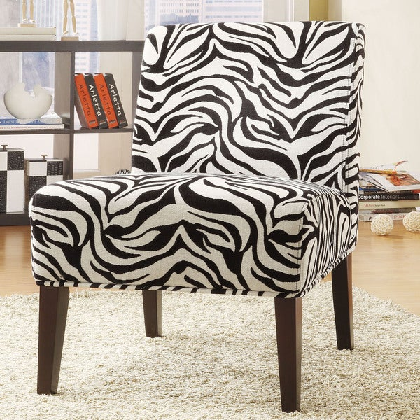 TRIBECCA HOME Decorative Zebra Print Armless Lounge Chair