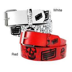 Men's 'Protect. Live. Ride.' Faux Leather Belt