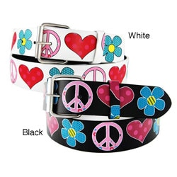 Women's 'Flower Heart Peace' 1.5-cm Faux Leather Belt