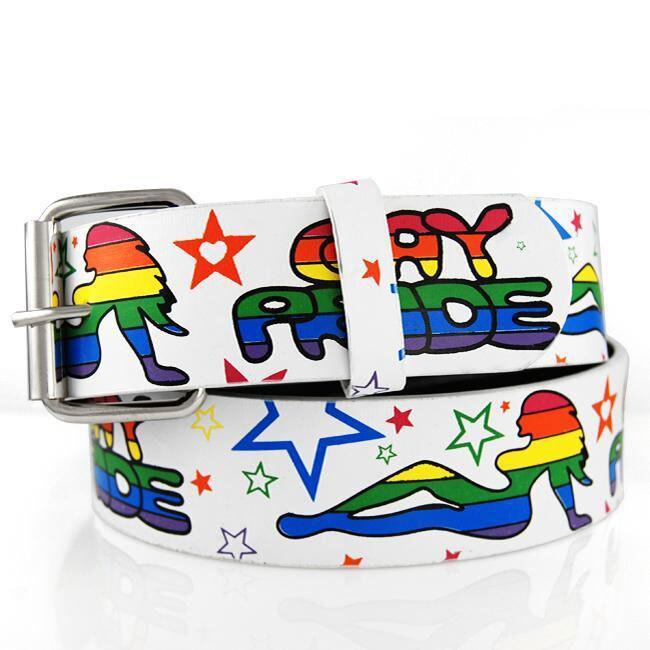 Women's 'Gay Pride' 1.5-cm Leather Belt