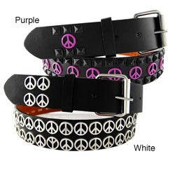Men's Peace Sign Stud Faux Leather Belt