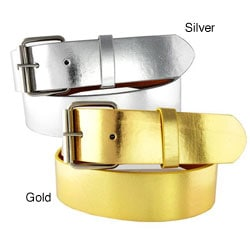 Women's Metallic 1.5-cm Faux Leather Belt