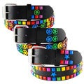 Men's Multicolor Stars and Studs Faux Leather Belt