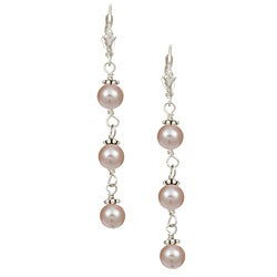 Charming Life Sterling Silver Pink Pearl Earrings (6-6.5 mm)