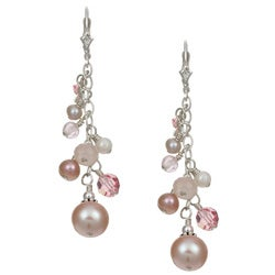 Charming Life Sterling Silver Pink Pearl/ Crystal Earrings (3-9 mm)