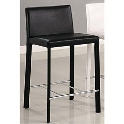 Euro Design Black Bicast Leather Counter Stools (Set of 2)