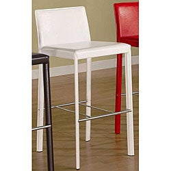Euro Design White Bicast Leather Barstools (Set of 2)