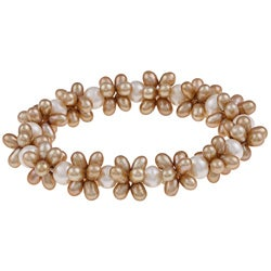 DaVonna Brown and White FW Pearl Stretch Bracelet (4-4.5 mm/ 7-7.5 mm)