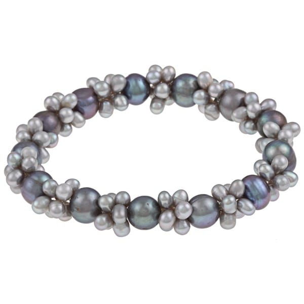 DaVonna Multi-grey FW Pearl Stretch Bracelet (4-4.5 mm/ 7-7.5 mm)