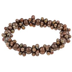 DaVonna Chocolate Colored FW Pearl Stretch Bracelet (4-4.5 mm/ 7-7.5 mm)