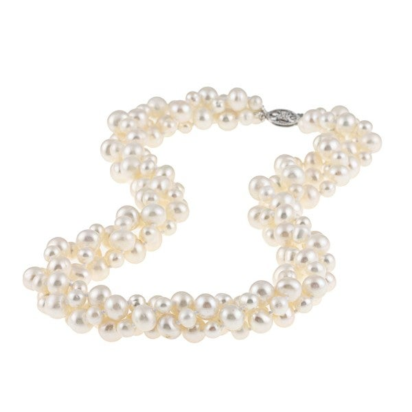 Sterling Silver Freshwater Pearl Twisted Necklace (4 mm/ 8 mm)
