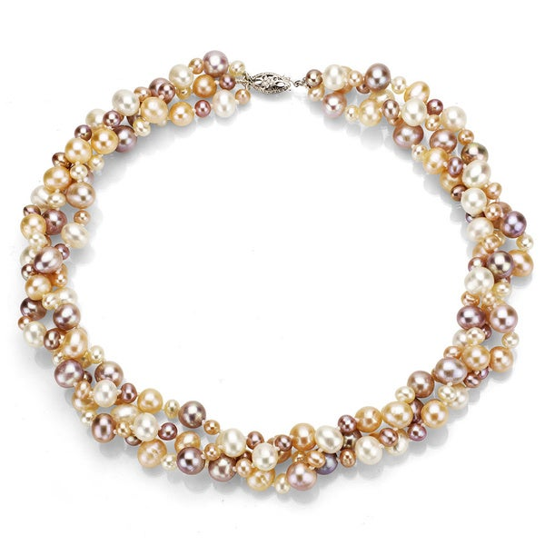 DaVonna Silver Multi Pink FW Pearl 3-row Twisted Necklace (4 mm/ 8 mm)