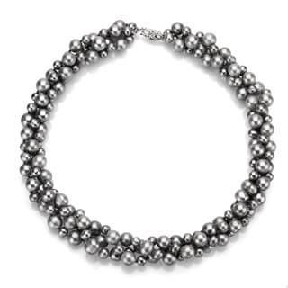 DaVonna Silver Grey FW Pearl 3-row Twisted Necklace (4 mm/ 8 mm)