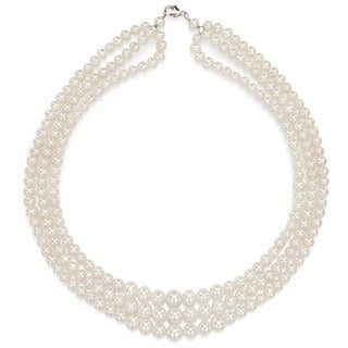 DaVonna Silver White Freshwaer Graduated Pearl 3-row Necklace (4-7 mm)