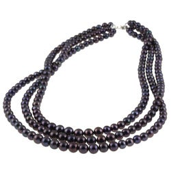 DaVonna Silver Black Freshwaer Graduated Pearl 3-row Necklace (4-7 mm)