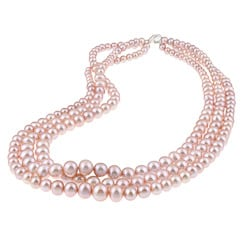 DaVonna Silver Pink Freshwaer Graduated Pearl 3-row Necklace (4-7 mm)