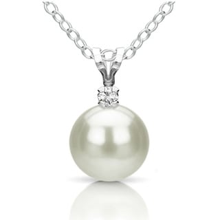 DaVonna Silver White FW Pearl and Diamond Pendant Necklace (8-8.5 mm)
