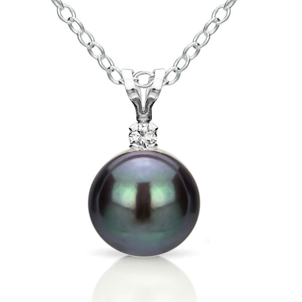 DaVonna Silver Black FW Pearl and Diamond Pendant Necklace (8-8.5 mm)
