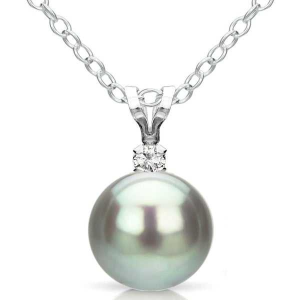 DaVonna Silver Grey FW Pearl and Diamond Pendant Necklace (8-8.5 mm)