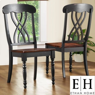 ETHAN HOME Mackenzie Country Black Dining Chair (Set of 2)