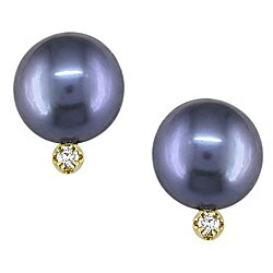 Miadora 10k Gold Black Pearl and Diamond Earrings (6-7 mm)