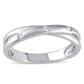 Miadora 10k White Gold Diamond Accent Criss-cross Ring (I-J, I2-I3)