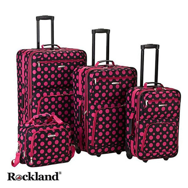 Rockland Black/Pink Dot 4-piece Expandable Luggage Set Travel Bags