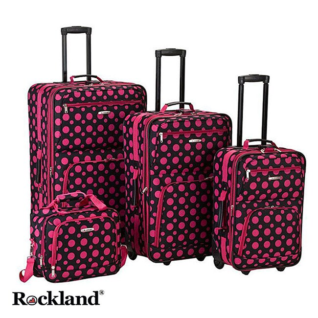 Rockland Black/Pink Dot 4-piece Expandable Luggage Set at Sears.com