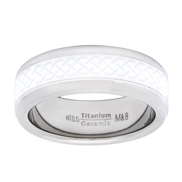 Men's Titanium and Ceramic Spinner Ring