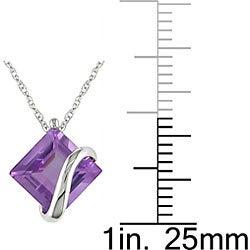 Miadora 10k White Gold Square Amethyst Necklace