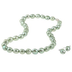DaVonna Silver Green FW Baroque Pearl Necklace and Earrings Set (10-11 mm)