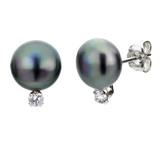 DaVonna Silver Black Pearl and 1/10ct TDW Diamond Earrings (8-8.5 mm)