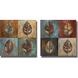 P. Pinto 'New Leaf Patch I & II' Canvas Art Set