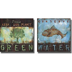 Wani Pasion 'Green Planet & Conserve Water' 2-piece Canvas Art
