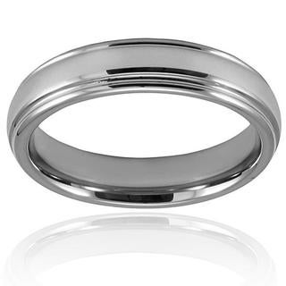 Men's Tungsten Carbide Grooved Polished Unisex Ring