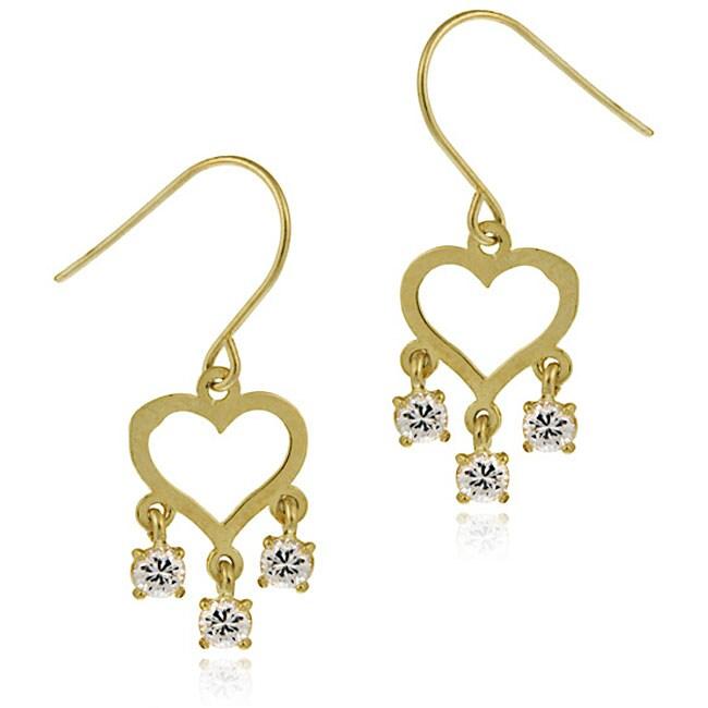 Icz Stonez 14k Gold Cubic Zirconia Mini Chandelier Heart Earrings